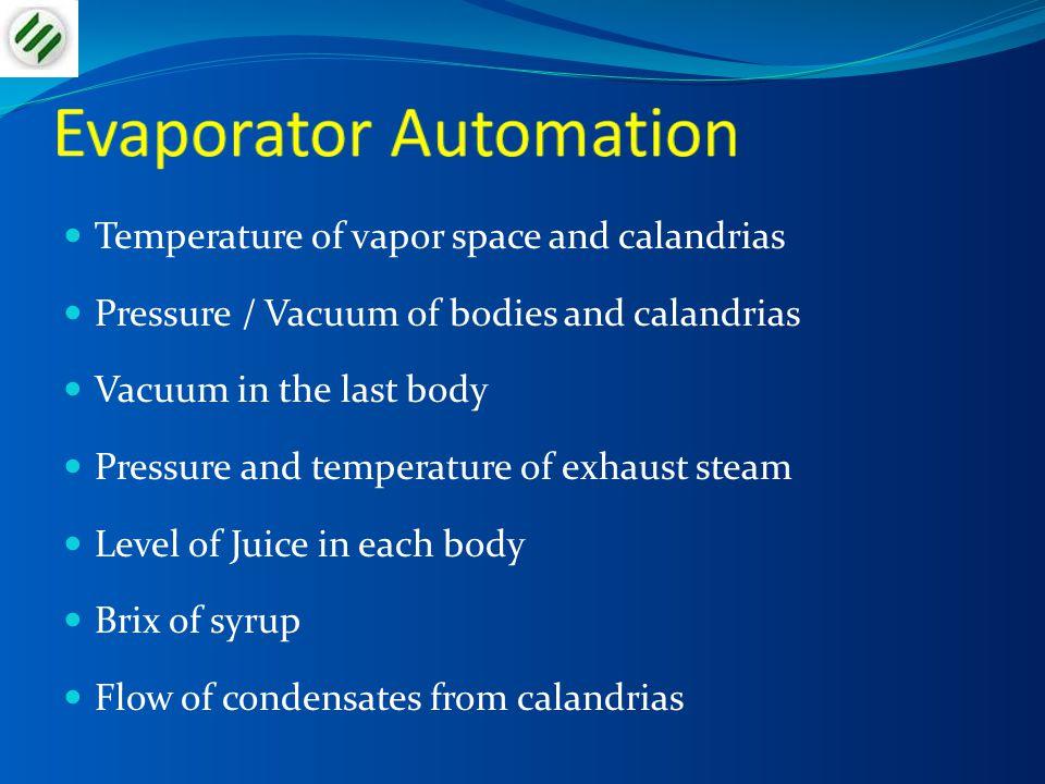 Temperature of vapor space and calandrias Pressure / Vacuum of bodies and calandrias Vacuum in the last body Pressure and temperature of exhaust steam