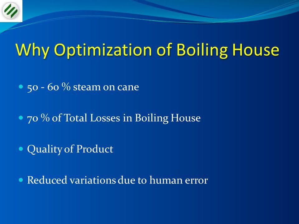 Level in Evaporator bodies Vessel 135 – 40 % Vessel 225 % Vessel 3 & 420 %