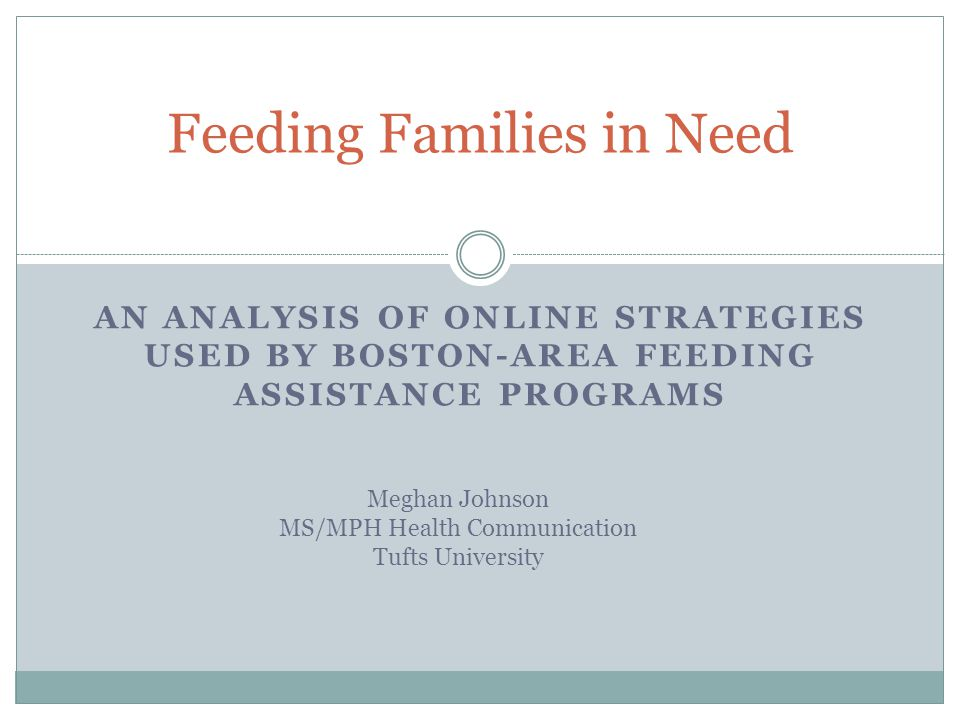 AN ANALYSIS OF ONLINE STRATEGIES USED BY BOSTON-AREA FEEDING ASSISTANCE PROGRAMS Feeding Families in Need Meghan Johnson MS/MPH Health Communication Tufts University