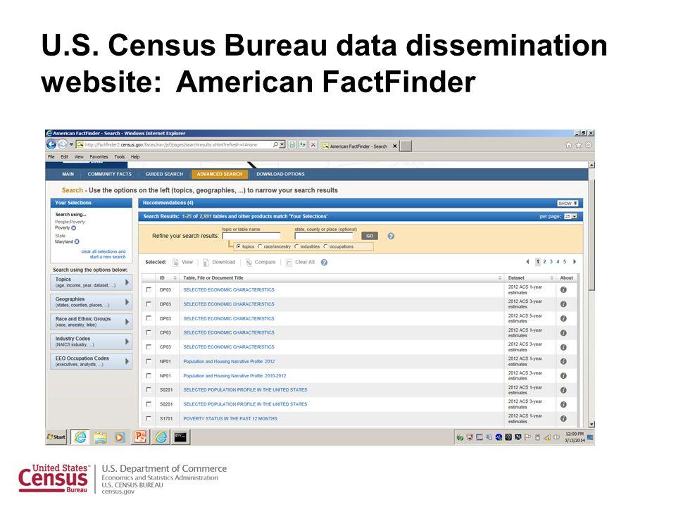 U.S. Census Bureau data dissemination website: American FactFinder
