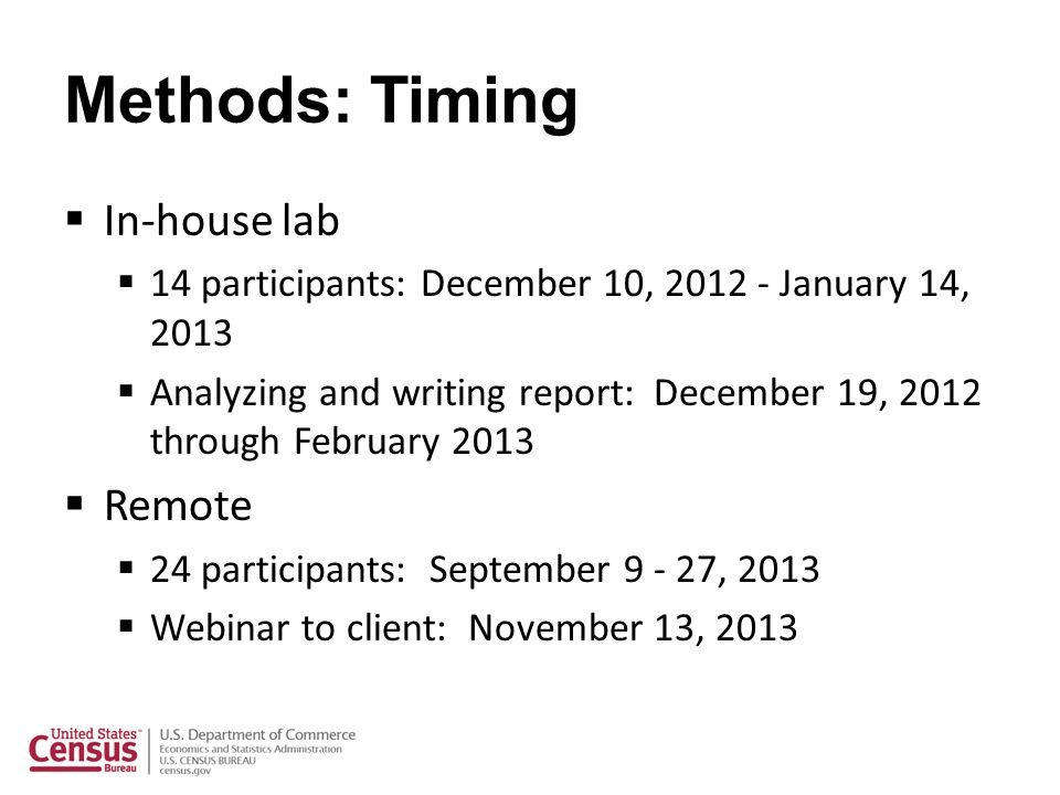 Methods: Timing In-house lab 14 participants: December 10, 2012 - January 14, 2013 Analyzing and writing report: December 19, 2012 through February 20
