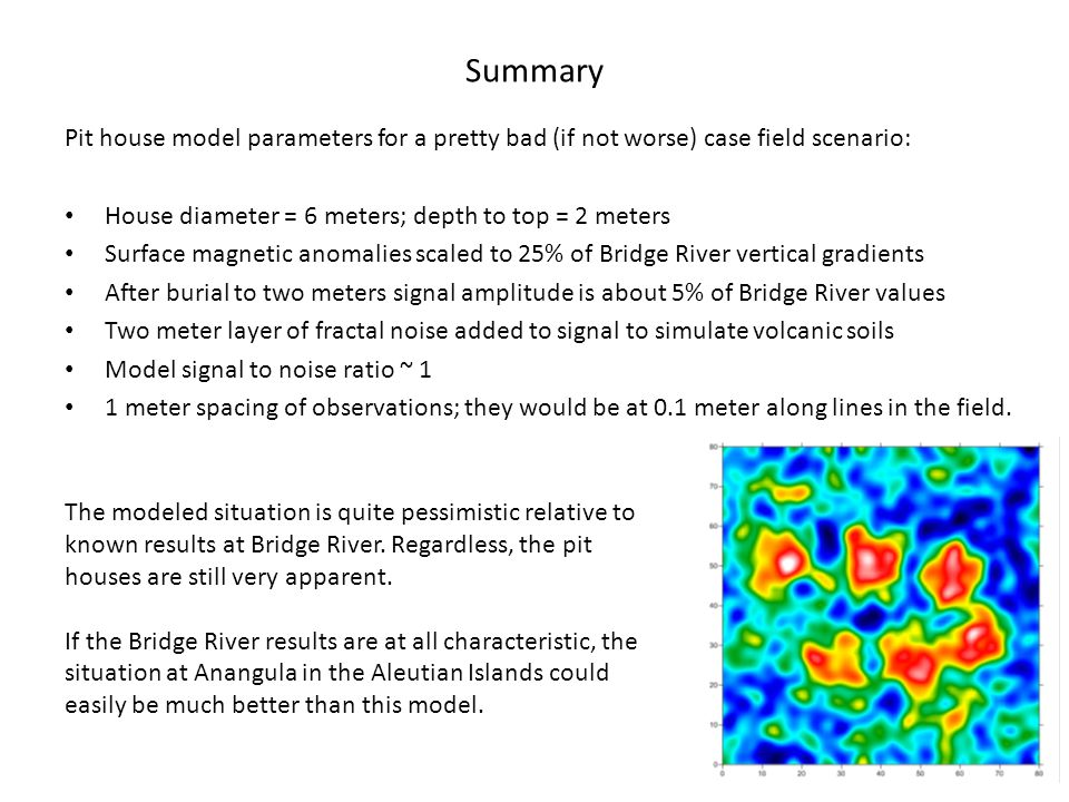 Summary Pit house model parameters for a pretty bad (if not worse) case field scenario: House diameter = 6 meters; depth to top = 2 meters Surface magnetic anomalies scaled to 25% of Bridge River vertical gradients After burial to two meters signal amplitude is about 5% of Bridge River values Two meter layer of fractal noise added to signal to simulate volcanic soils Model signal to noise ratio ~ 1 1 meter spacing of observations; they would be at 0.1 meter along lines in the field.