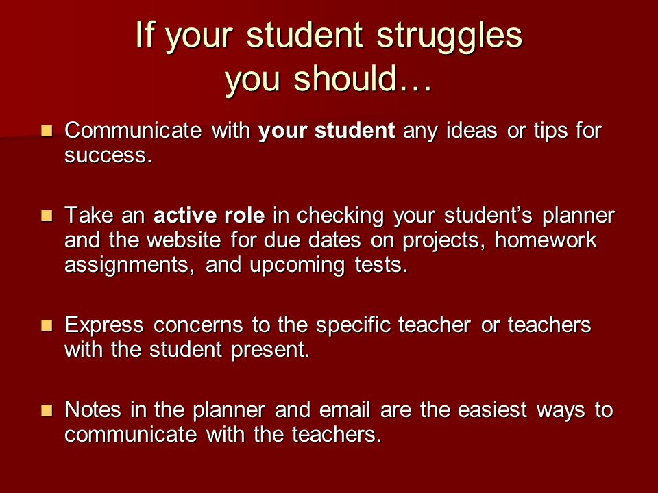 If your student struggles you should… Communicate with your student any ideas or tips for success.