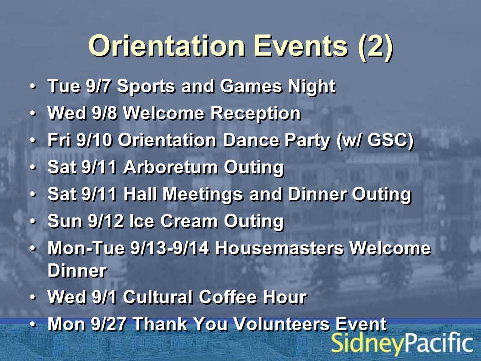 Orientation Events (2) Tue 9/7 Sports and Games Night Wed 9/8 Welcome Reception Fri 9/10 Orientation Dance Party (w/ GSC) Sat 9/11 Arboretum Outing Sat 9/11 Hall Meetings and Dinner Outing Sun 9/12 Ice Cream Outing Mon-Tue 9/13-9/14 Housemasters Welcome Dinner Wed 9/1 Cultural Coffee Hour Mon 9/27 Thank You Volunteers Event Tue 9/7 Sports and Games Night Wed 9/8 Welcome Reception Fri 9/10 Orientation Dance Party (w/ GSC) Sat 9/11 Arboretum Outing Sat 9/11 Hall Meetings and Dinner Outing Sun 9/12 Ice Cream Outing Mon-Tue 9/13-9/14 Housemasters Welcome Dinner Wed 9/1 Cultural Coffee Hour Mon 9/27 Thank You Volunteers Event