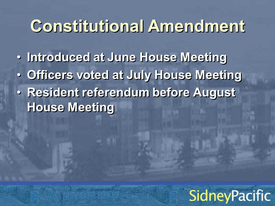 Constitutional Amendment Introduced at June House Meeting Officers voted at July House Meeting Resident referendum before August House Meeting Introduced at June House Meeting Officers voted at July House Meeting Resident referendum before August House Meeting