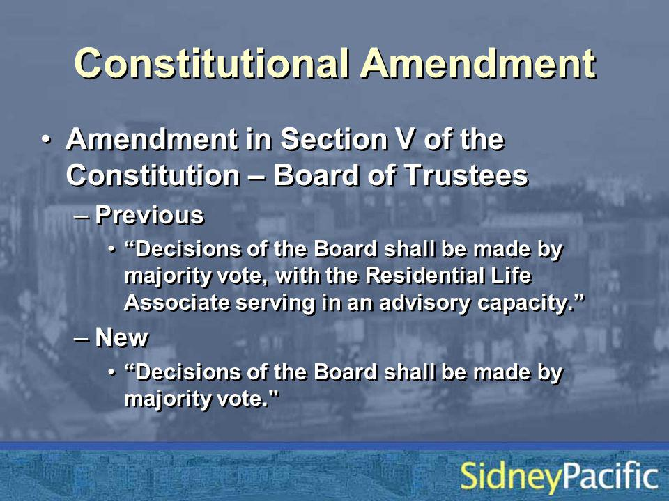 Constitutional Amendment Amendment in Section V of the Constitution – Board of Trustees –Previous Decisions of the Board shall be made by majority vote, with the Residential Life Associate serving in an advisory capacity.