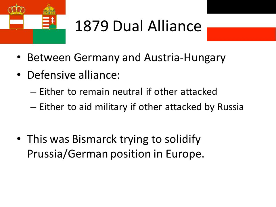 1. Rise of AlliancesRise of Alliances – 1879 Dual Alliance – 1882 Triple Alliance – 1894 France-Russia Convention – 1902 Anglo-Japan Treaty – 1904 Ent