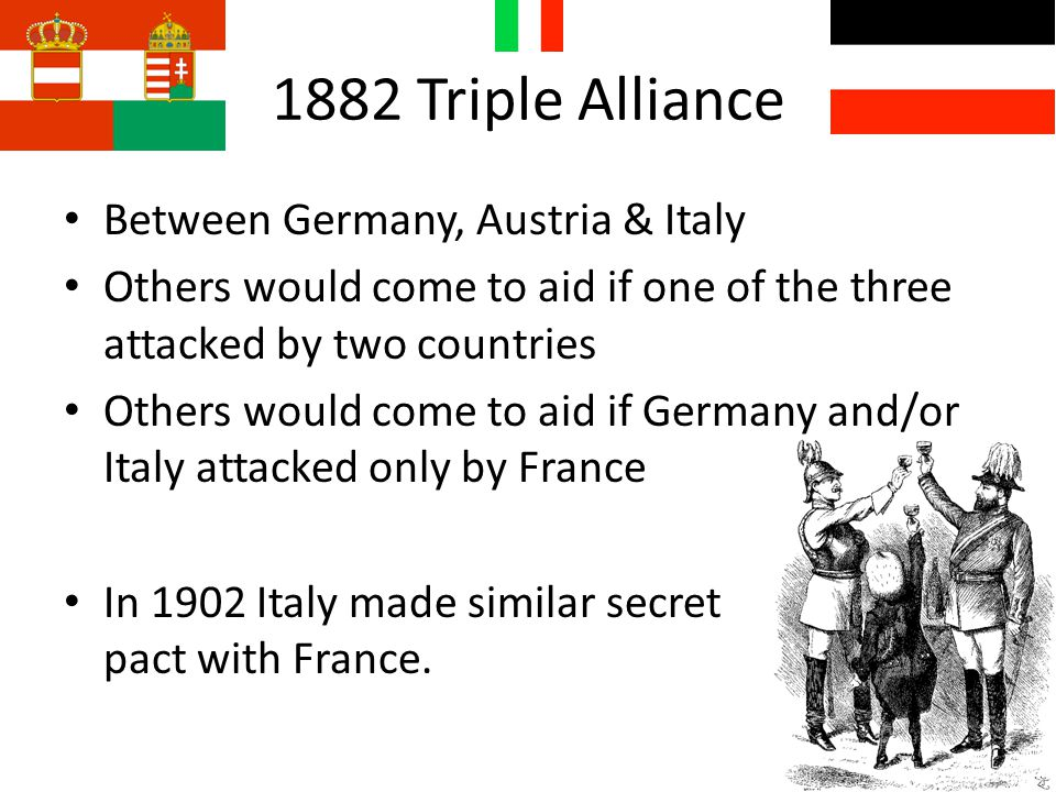 1882 Triple Alliance Between Germany, Austria & Italy Others would come to aid if one of the three attacked by two countries Others would come to aid if Germany and/or Italy attacked only by France In 1902 Italy made similar secret pact with France.