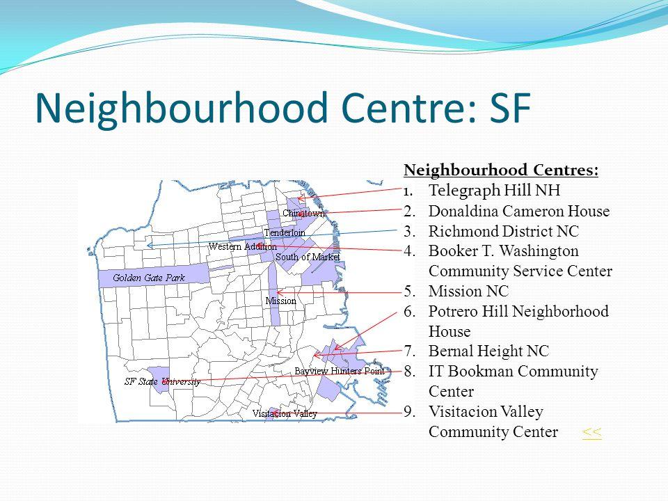 Neighbourhood Centre: SF Neighbourhood Centres: 1.Telegraph Hill NH 2.Donaldina Cameron House 3.Richmond District NC 4.Booker T. Washington Community