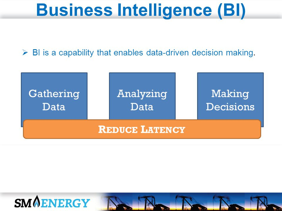 Gathering Data Analyzing Data Making Decisions R EDUCE L ATENCY Business Intelligence (BI) BI is a capability that enables data-driven decision making