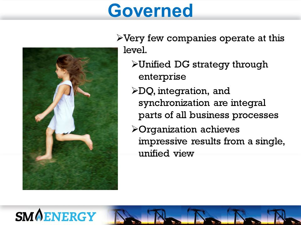 Governed Very few companies operate at this level. Unified DG strategy through enterprise DQ, integration, and synchronization are integral parts of a