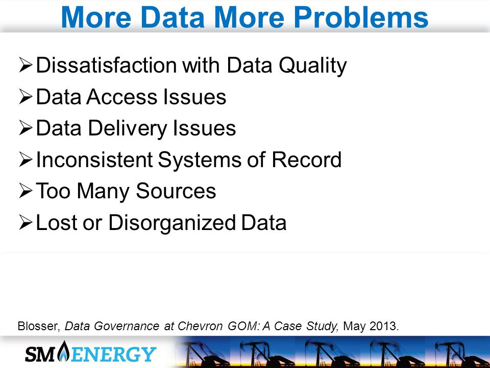 More Data More Problems Dissatisfaction with Data Quality Data Access Issues Data Delivery Issues Inconsistent Systems of Record Too Many Sources Lost