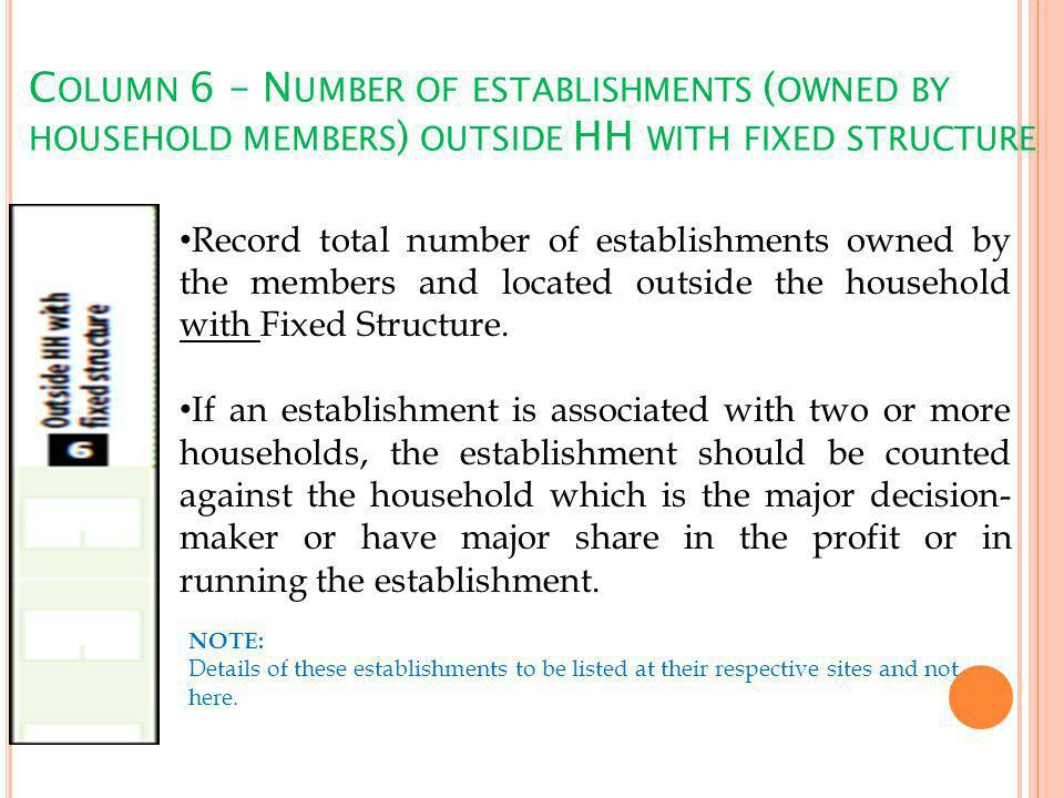 C OLUMN 6 – N UMBER OF ESTABLISHMENTS ( OWNED BY HOUSEHOLD MEMBERS ) OUTSIDE HH WITH FIXED STRUCTURE Record total number of establishments owned by the members and located outside the household with Fixed Structure.