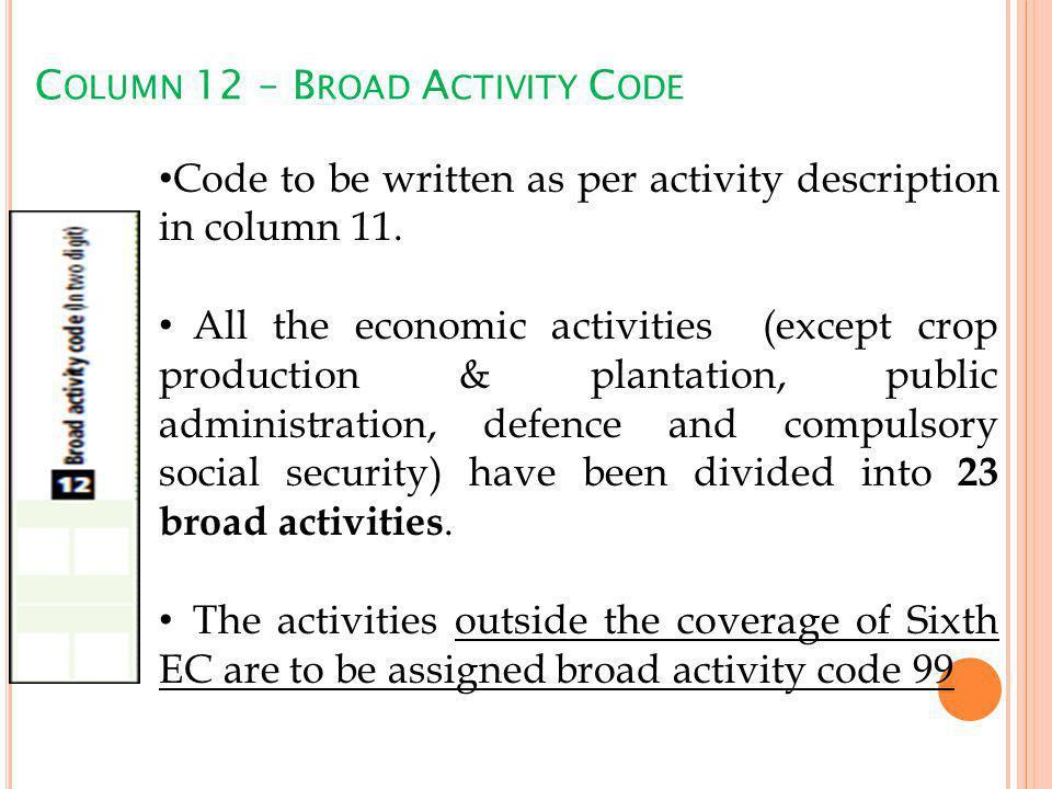 C OLUMN 12 – B ROAD A CTIVITY C ODE Code to be written as per activity description in column 11.