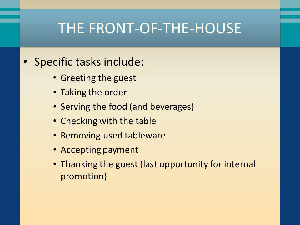 THE FRONT-OF-THE-HOUSE Roles and positions for various FOH staff include: Hosts/Hostesses Counter person Servers Cashier Bussers