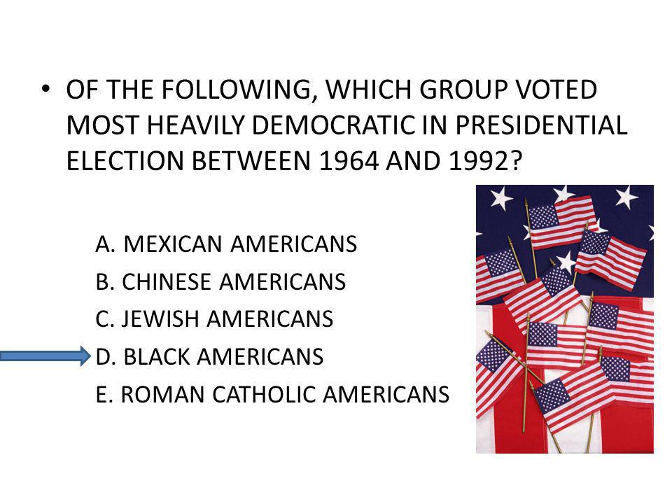 OF THE FOLLOWING, WHICH GROUP VOTED MOST HEAVILY DEMOCRATIC IN PRESIDENTIAL ELECTION BETWEEN 1964 AND 1992.