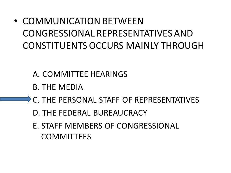 COMMUNICATION BETWEEN CONGRESSIONAL REPRESENTATIVES AND CONSTITUENTS OCCURS MAINLY THROUGH A.