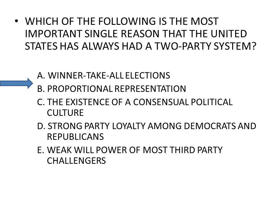 WHICH OF THE FOLLOWING IS THE MOST IMPORTANT SINGLE REASON THAT THE UNITED STATES HAS ALWAYS HAD A TWO-PARTY SYSTEM.