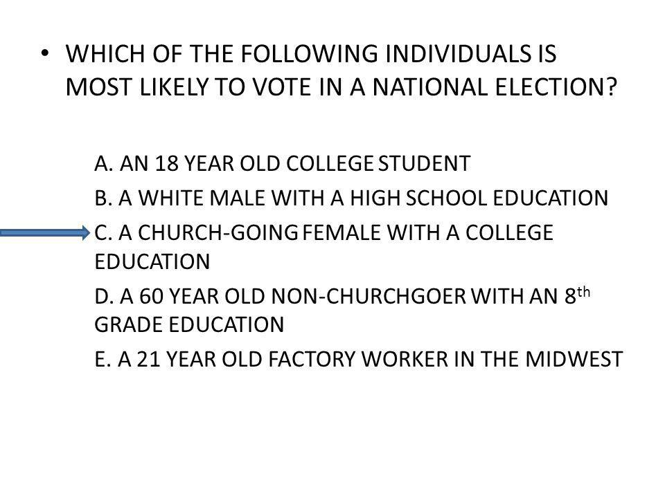 WHICH OF THE FOLLOWING INDIVIDUALS IS MOST LIKELY TO VOTE IN A NATIONAL ELECTION.