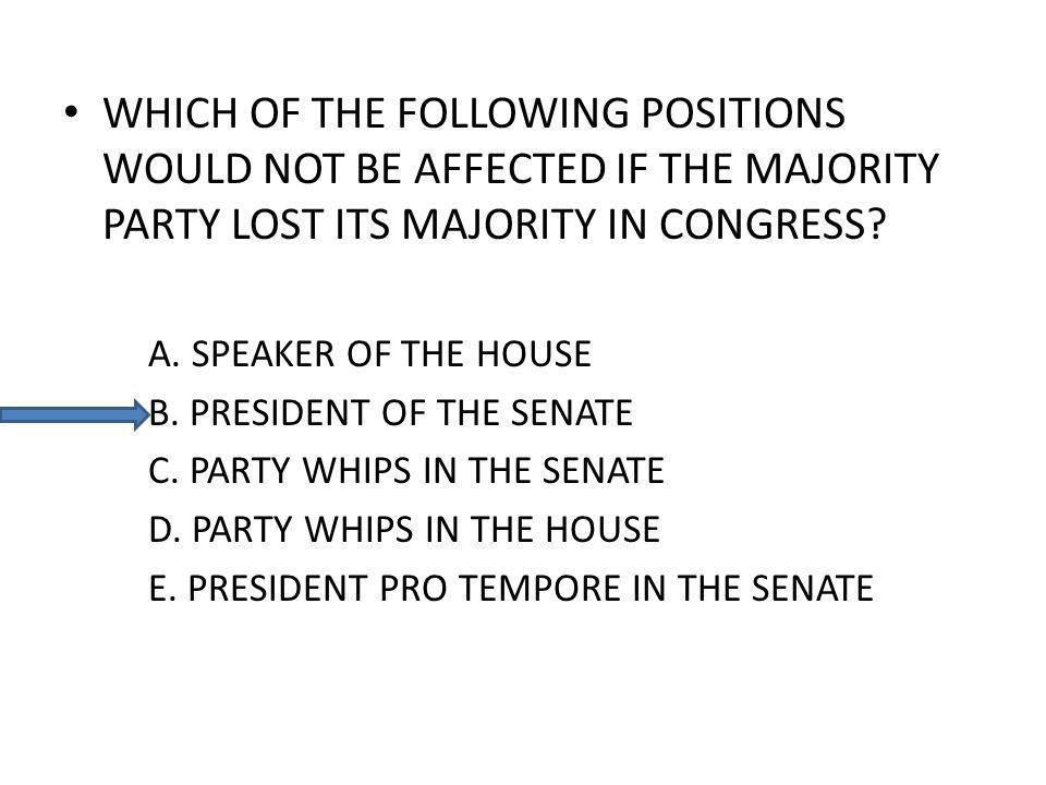 WHICH OF THE FOLLOWING POSITIONS WOULD NOT BE AFFECTED IF THE MAJORITY PARTY LOST ITS MAJORITY IN CONGRESS? A. SPEAKER OF THE HOUSE B. PRESIDENT OF TH