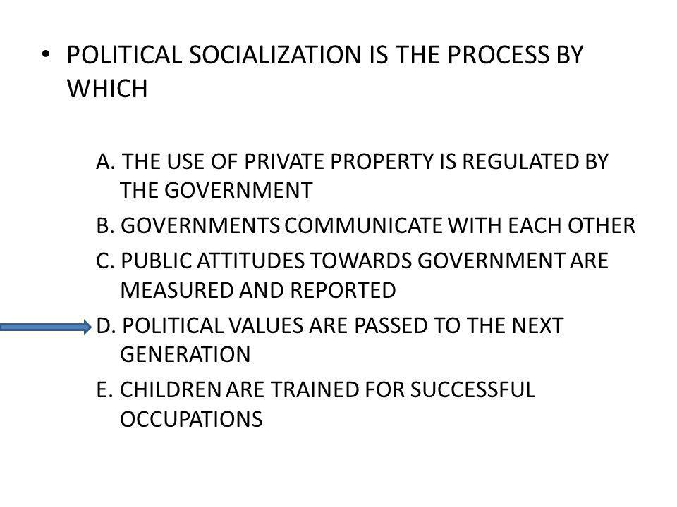 POLITICAL SOCIALIZATION IS THE PROCESS BY WHICH A. THE USE OF PRIVATE PROPERTY IS REGULATED BY THE GOVERNMENT B. GOVERNMENTS COMMUNICATE WITH EACH OTH