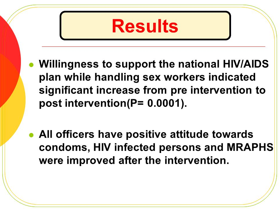 Willingness to support the national HIV/AIDS plan while handling sex workers indicated significant increase from pre intervention to post intervention