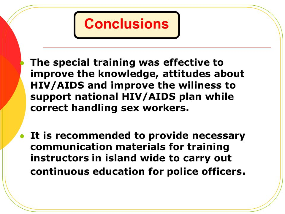 The special training was effective to improve the knowledge, attitudes about HIV/AIDS and improve the wiliness to support national HIV/AIDS plan while