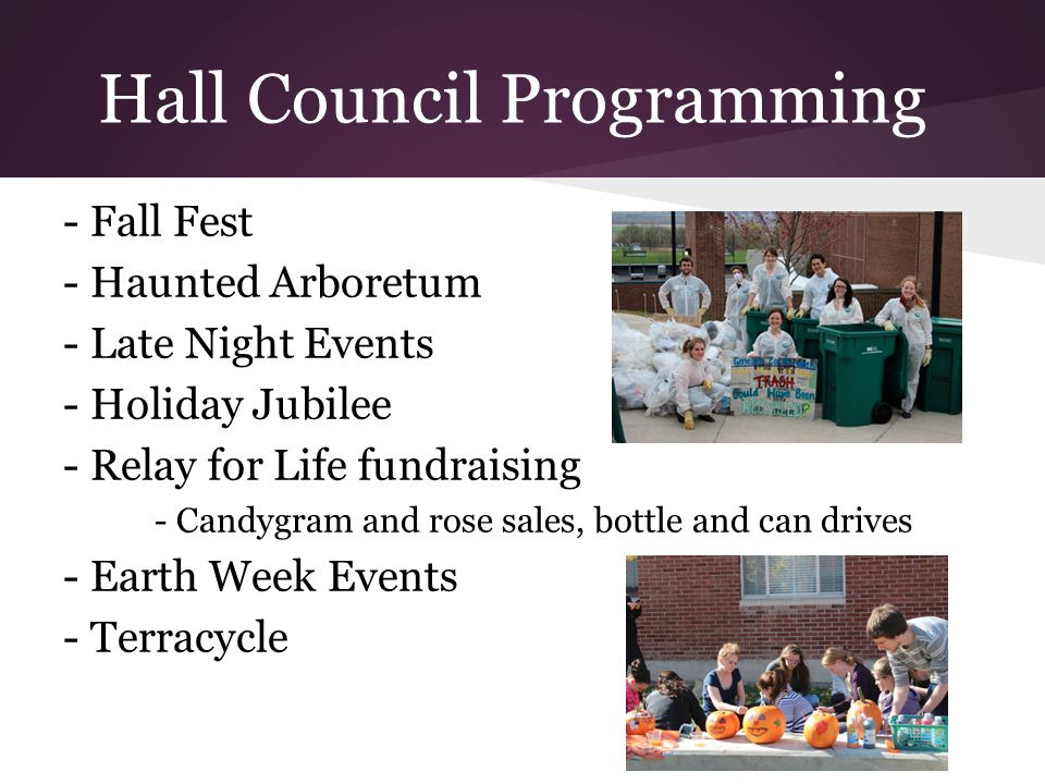 Hall Council Programming - Fall Fest - Haunted Arboretum - Late Night Events - Holiday Jubilee - Relay for Life fundraising - Candygram and rose sales, bottle and can drives - Earth Week Events - Terracycle