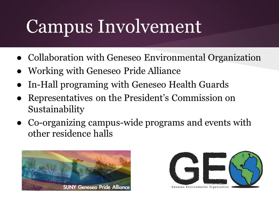 Campus Involvement Collaboration with Geneseo Environmental Organization Working with Geneseo Pride Alliance In-Hall programing with Geneseo Health Guards Representatives on the Presidents Commission on Sustainability Co-organizing campus-wide programs and events with other residence halls