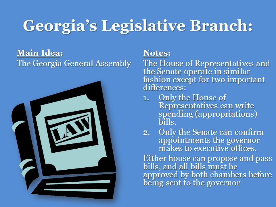 Georgias Legislative Branch: Main Idea: Presiding Officers Notes: The Lieutenant Governor presides over (leads) the Senate.