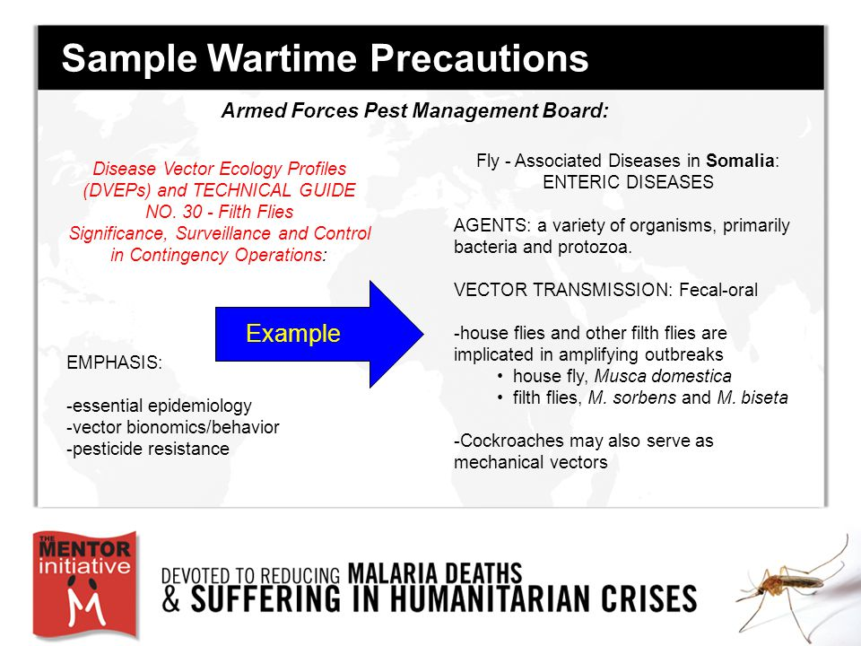 Sample Wartime Precautions Disease Vector Ecology Profiles (DVEPs) and TECHNICAL GUIDE NO.