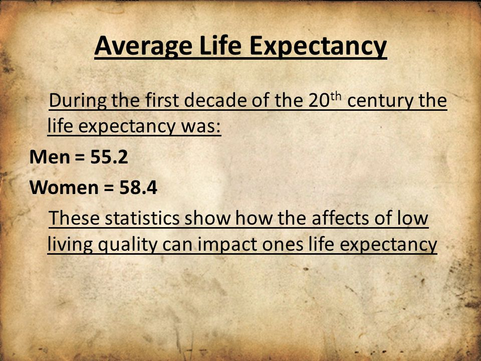 Average Life Expectancy During the first decade of the 20 th century the life expectancy was: Men = 55.2 Women = 58.4 These statistics show how the affects of low living quality can impact ones life expectancy