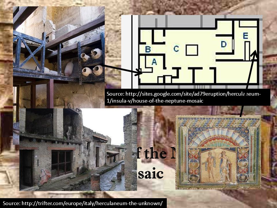 Source: http://trifter.com/europe/italy/herculaneum-the-unknown/ The House of the Neptune Mosaic Source: http://sites.google.com/site/ad79eruption/her