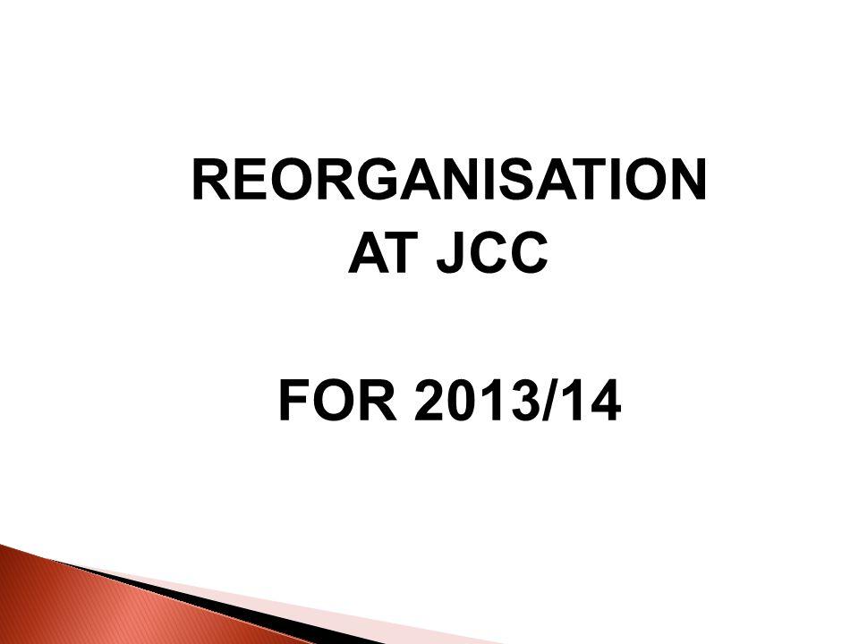 REORGANISATION AT JCC FOR 2013/14
