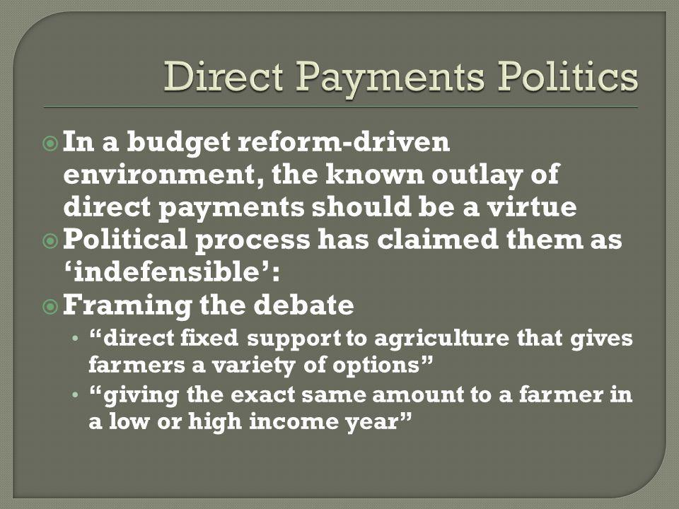 In a budget reform-driven environment, the known outlay of direct payments should be a virtue Political process has claimed them as indefensible: Framing the debate direct fixed support to agriculture that gives farmers a variety of options giving the exact same amount to a farmer in a low or high income year