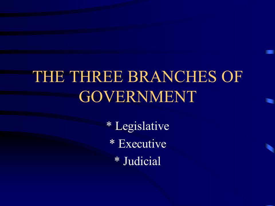 THE THREE BRANCHES OF GOVERNMENT * Legislative * Executive * Judicial