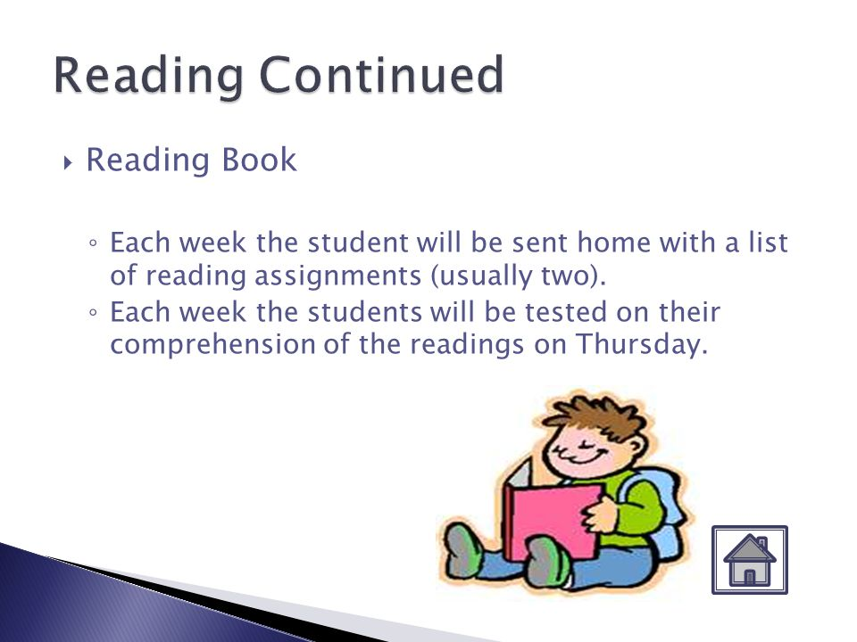 Vocabulary Words Each week the students will be sent home with a list of new vocabulary words.