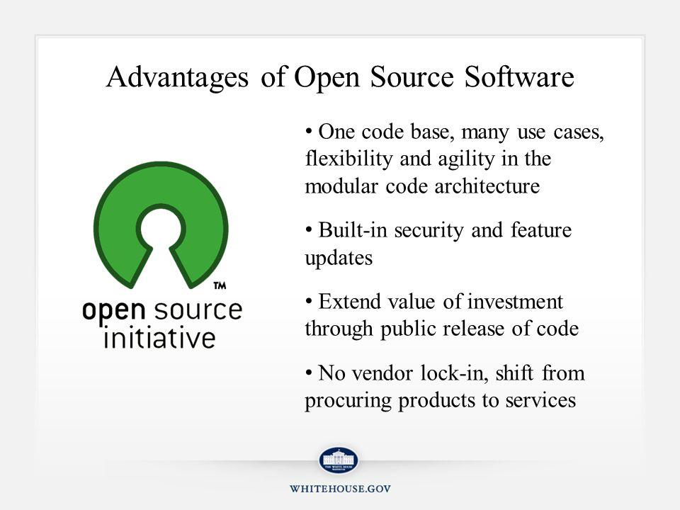 WhiteHouse.gov Runs on Open Source Open source Drupal running on LAMP stack (Linux, Apache, MySQL, PHP) High profile, high security, high traffic implementation of open source technologies