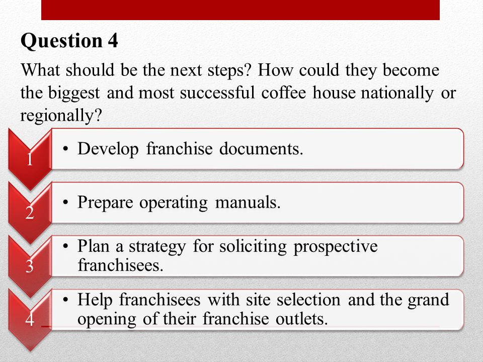 Question 4 What should be the next steps? How could they become the biggest and most successful coffee house nationally or regionally? 1 Develop franc