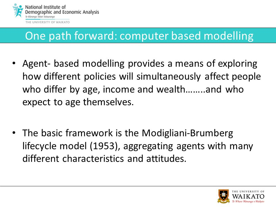 One path forward: computer based modelling Agent- based modelling provides a means of exploring how different policies will simultaneously affect people who differ by age, income and wealth……..and who expect to age themselves.