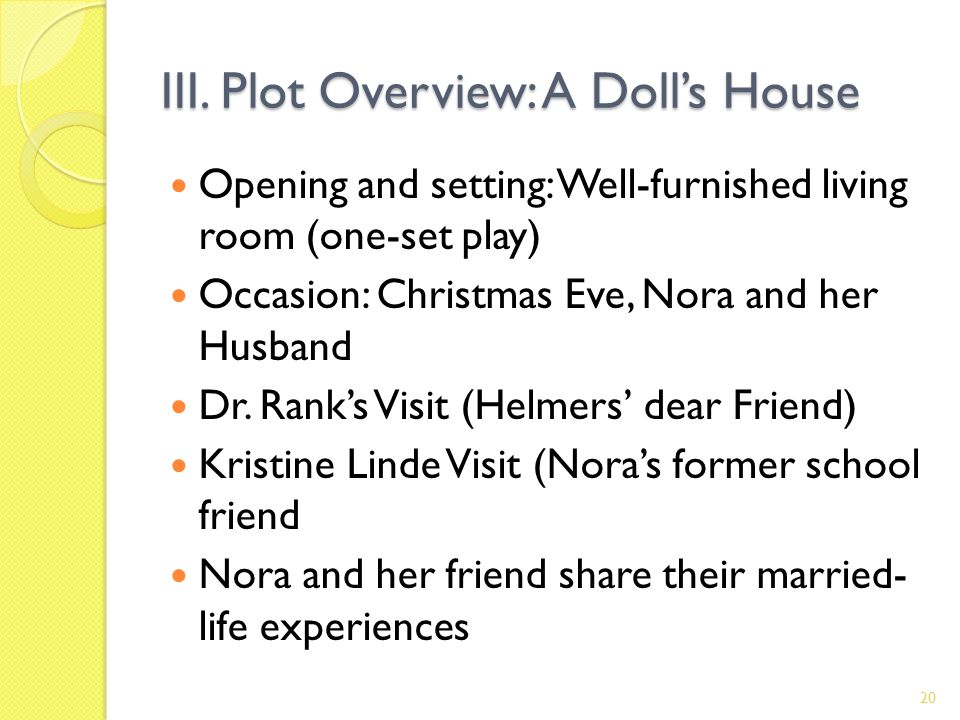 III. Plot Overview: A Dolls House Opening and setting: Well-furnished living room (one-set play) Occasion: Christmas Eve, Nora and her Husband Dr. Ran