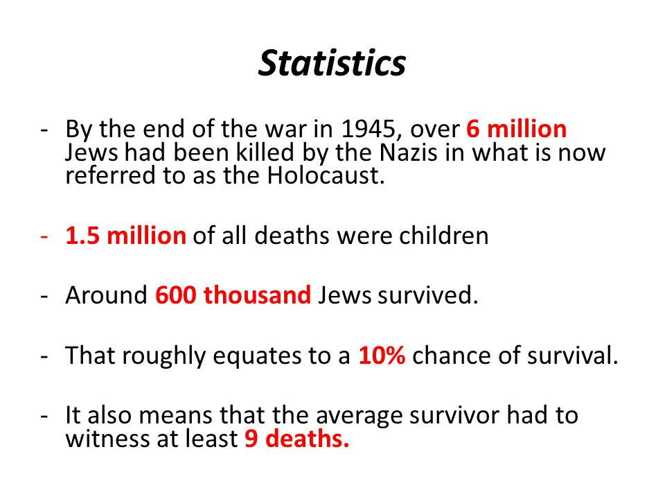 Statistics -By the end of the war in 1945, over 6 million Jews had been killed by the Nazis in what is now referred to as the Holocaust.
