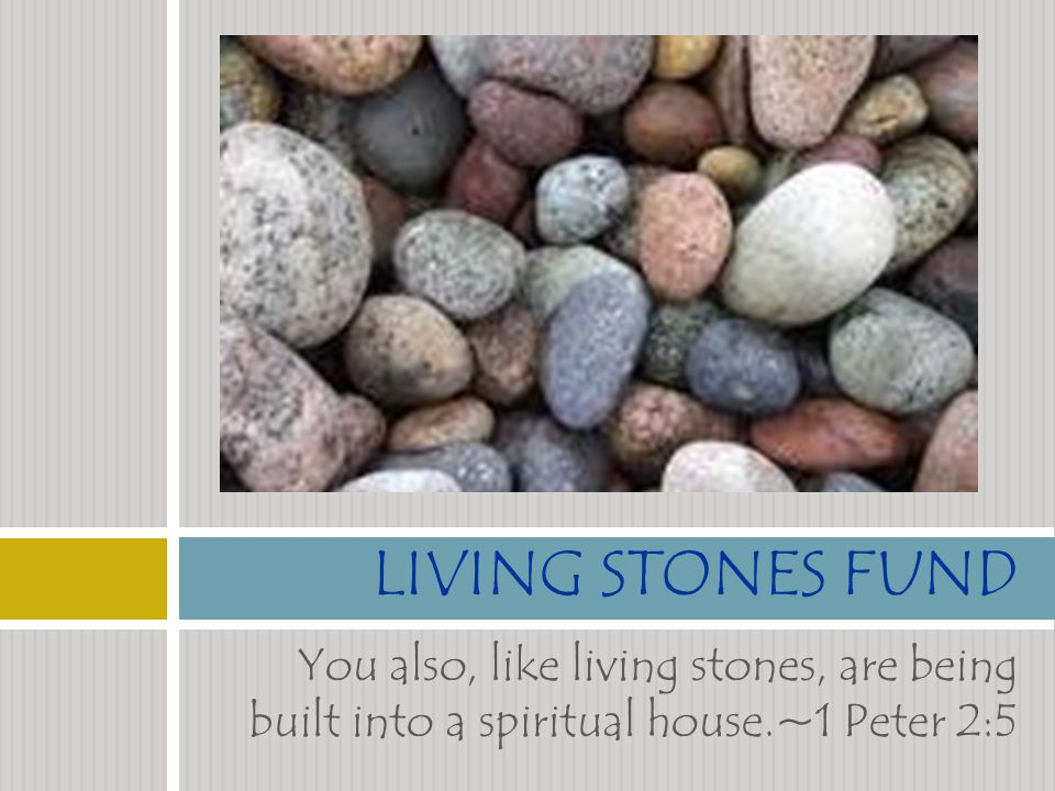 You also, like living stones, are being built into a spiritual house.~1 Peter 2:5 LIVING STONES FUND