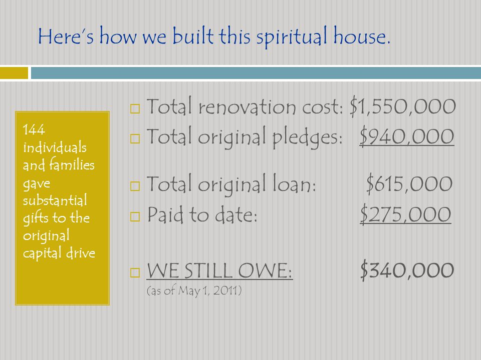 Heres how we built this spiritual house.