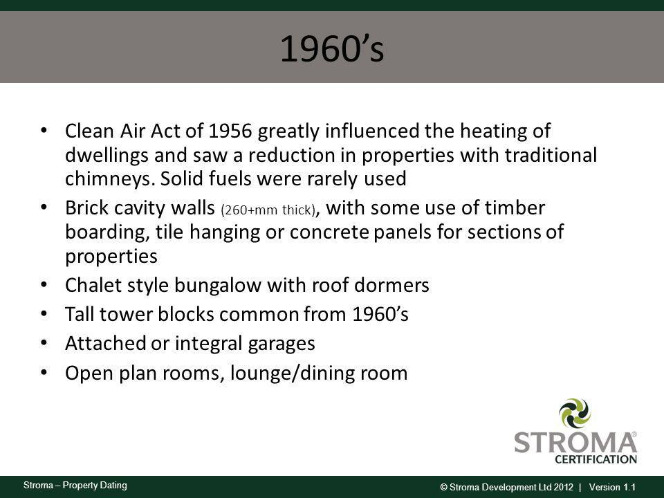 © Stroma Development Ltd 2012 | Version 1.1 Stroma – Property Dating 1960s Clean Air Act of 1956 greatly influenced the heating of dwellings and saw a