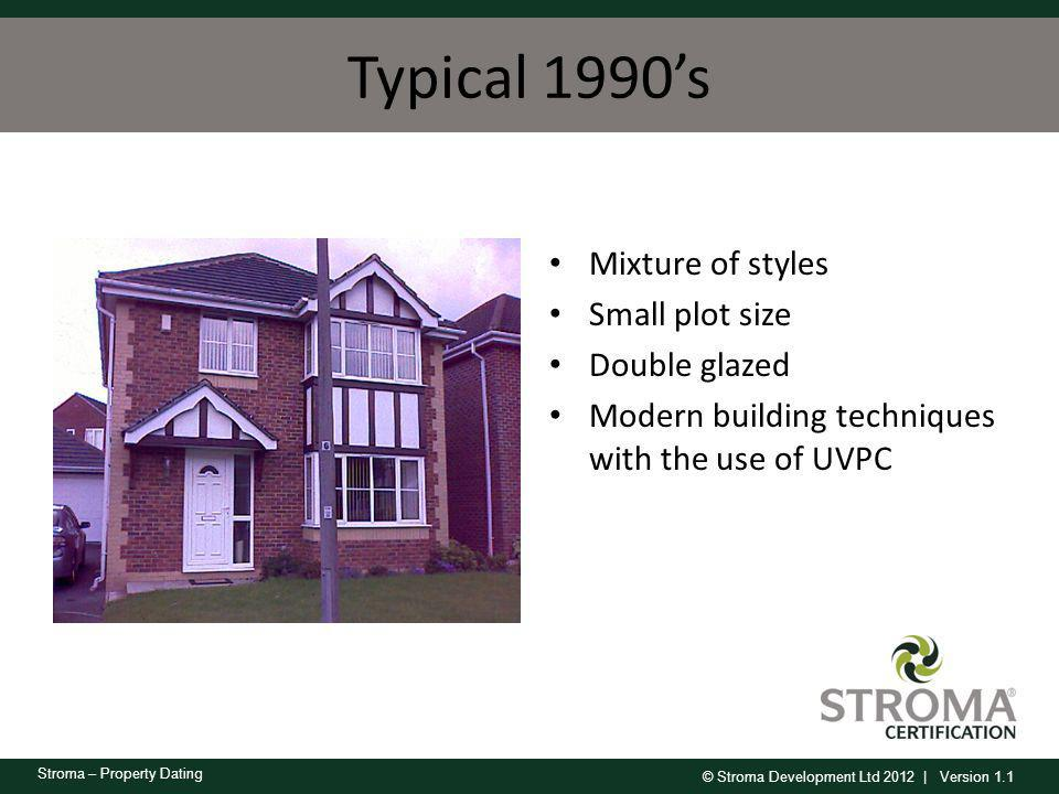 © Stroma Development Ltd 2012 | Version 1.1 Stroma – Property Dating Typical 1990s Mixture of styles Small plot size Double glazed Modern building tec