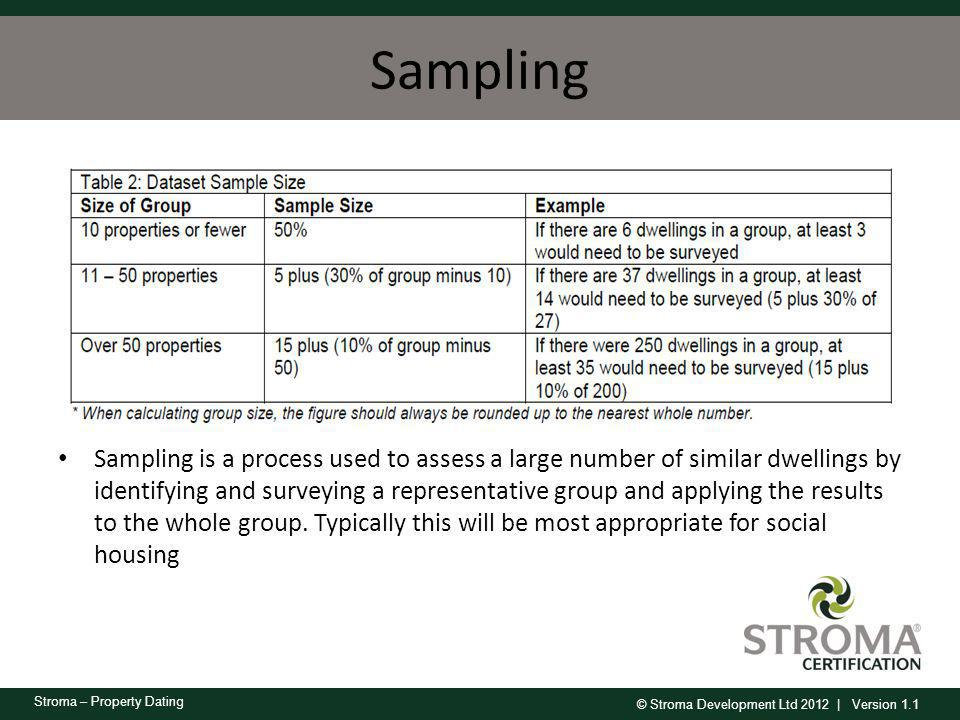 © Stroma Development Ltd 2012 | Version 1.1 Stroma – Property Dating Sampling Sampling is a process used to assess a large number of similar dwellings