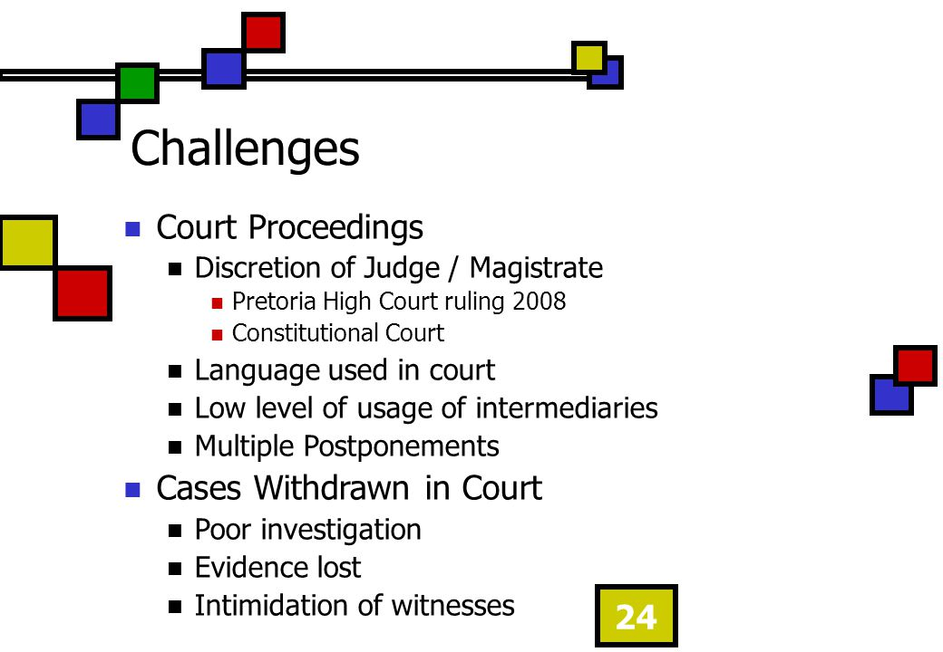 24 Challenges Court Proceedings Discretion of Judge / Magistrate Pretoria High Court ruling 2008 Constitutional Court Language used in court Low level