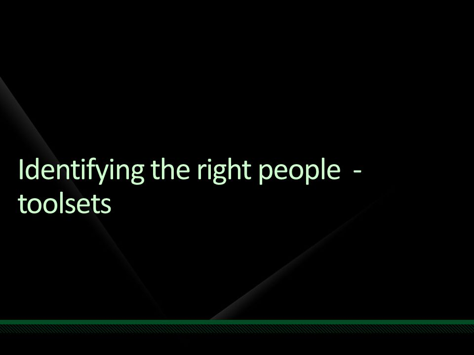 Identifying the right people - toolsets