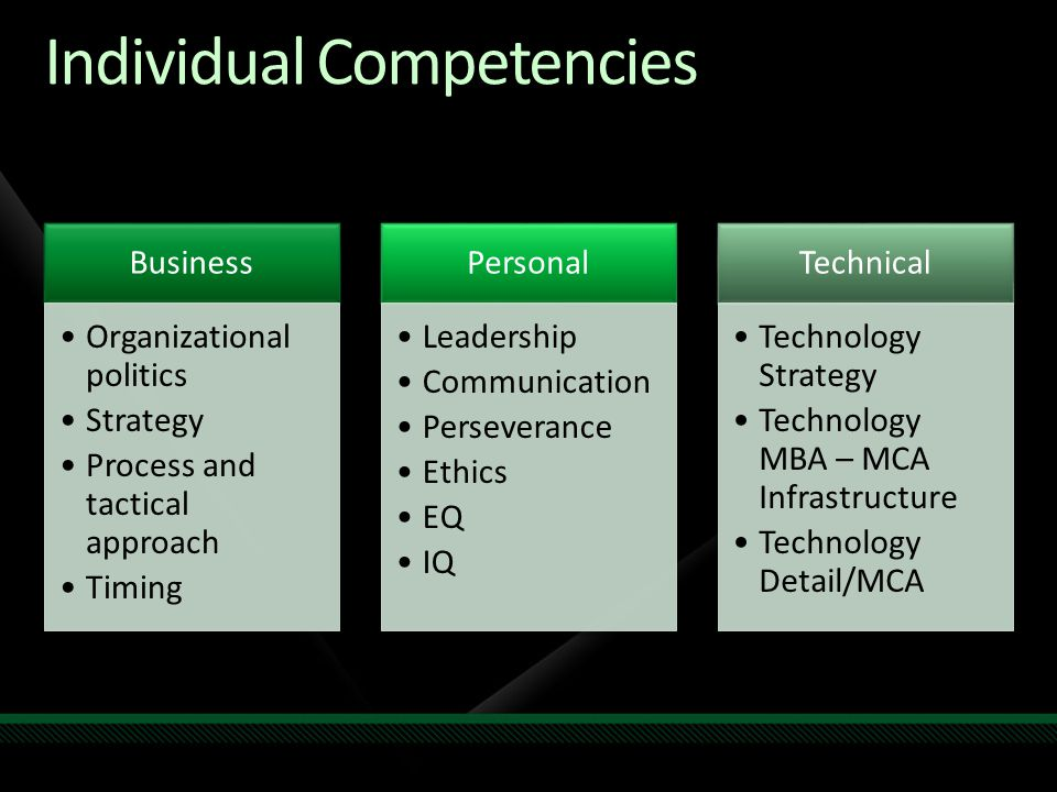 Individual Competencies Business Organizational politics Strategy Process and tactical approach Timing Personal Leadership Communication Perseverance